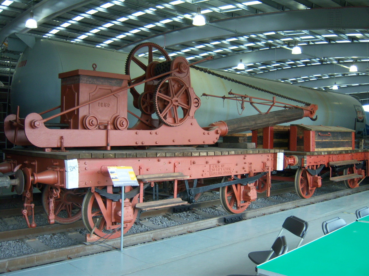 Early rail crane with crane runner at Locomotion, Shildon - this is the overflow site for the National Railway Museum, York