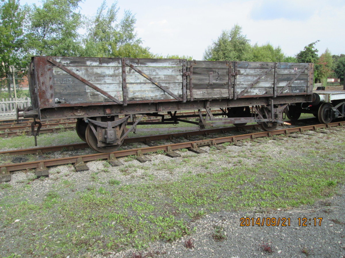 British Railways' Tube Wagon awaits restoration - seen at the back of the Peter Allan Building at the NRM, York (form. York Goods)