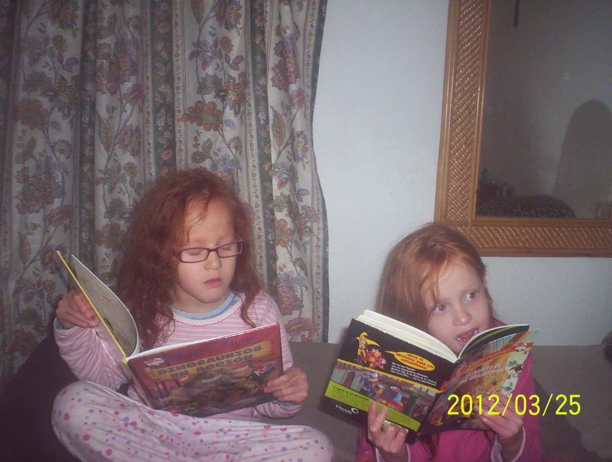 My 6 year old twins practicing some reading with The Geronimo Stilton series