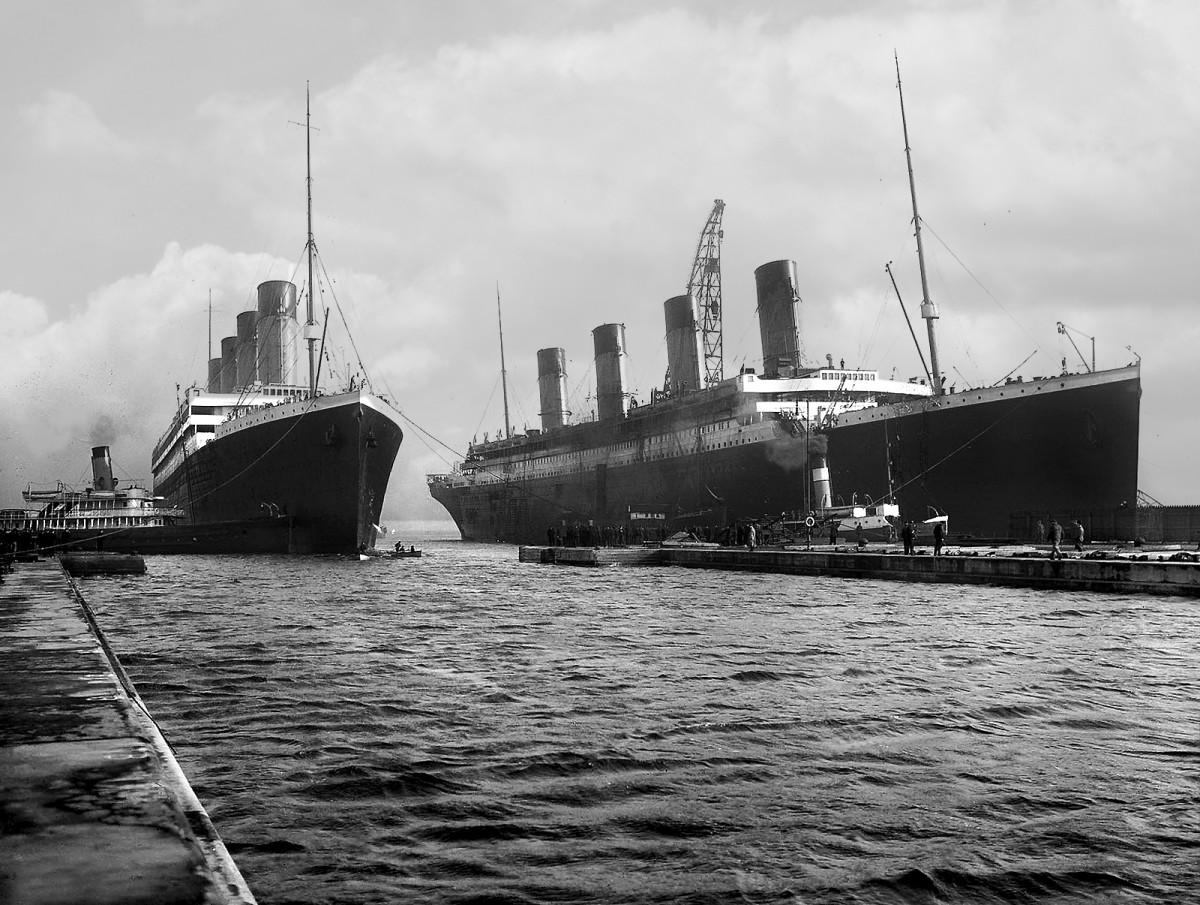 public domain - copyright expired. See: http://commons.wikimedia.org/wiki/File:Olympic_and_Titanic.jpg