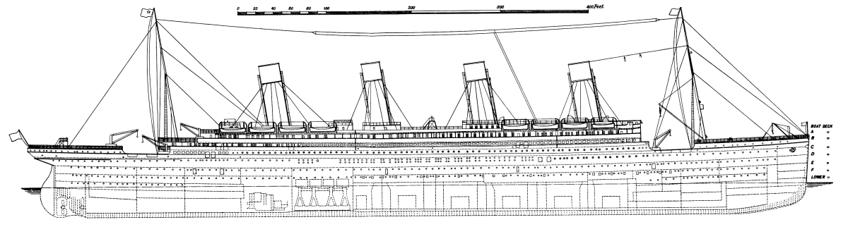See: http://en.wikipedia.org/wiki/File:Titanic_side_plan_1911.png