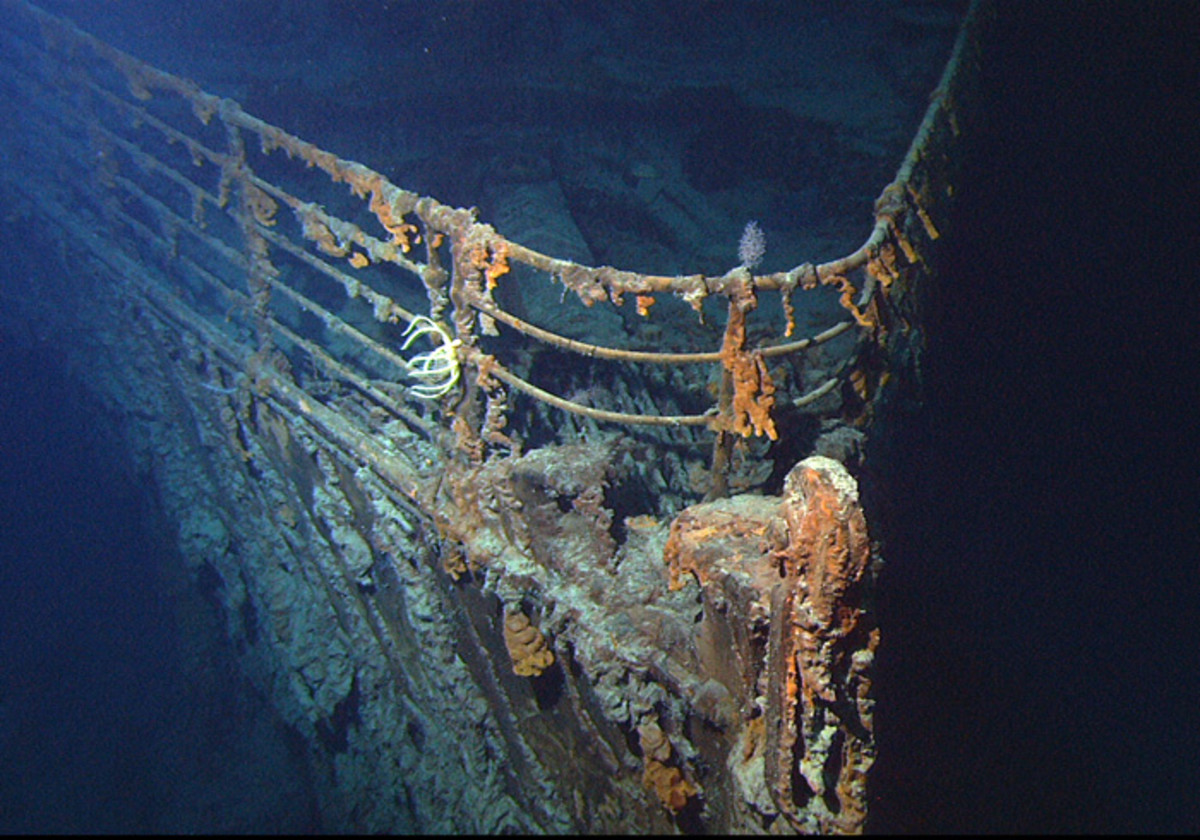 public domain - 'contains materials that originally came from the U.S. National Oceanic and Atmospheric Administration'. See: http://en.wikipedia.org/wiki/File:Titanic_wreck_bow.jpg