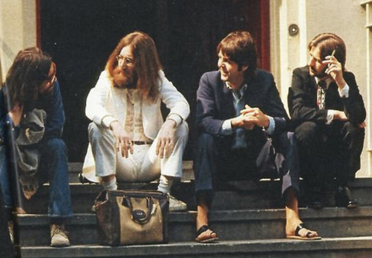 Sitting on the Abbey Road steps