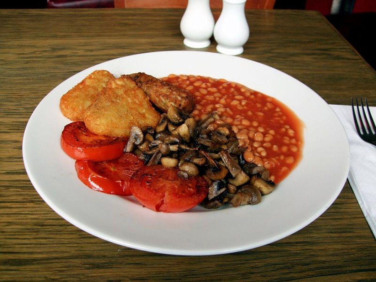 Vegetarian sausages in this full English.