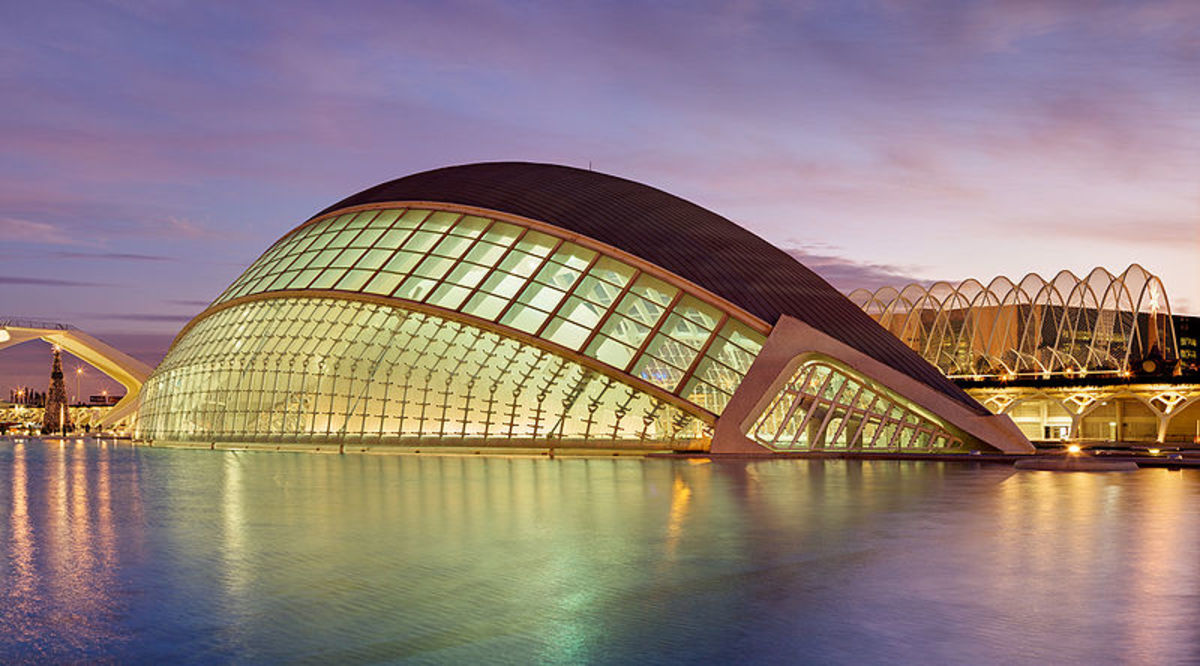 Architecture by Calatrava in his hometown of Valencia, Spain.  Ciutate de las Artes i les Ciencies.