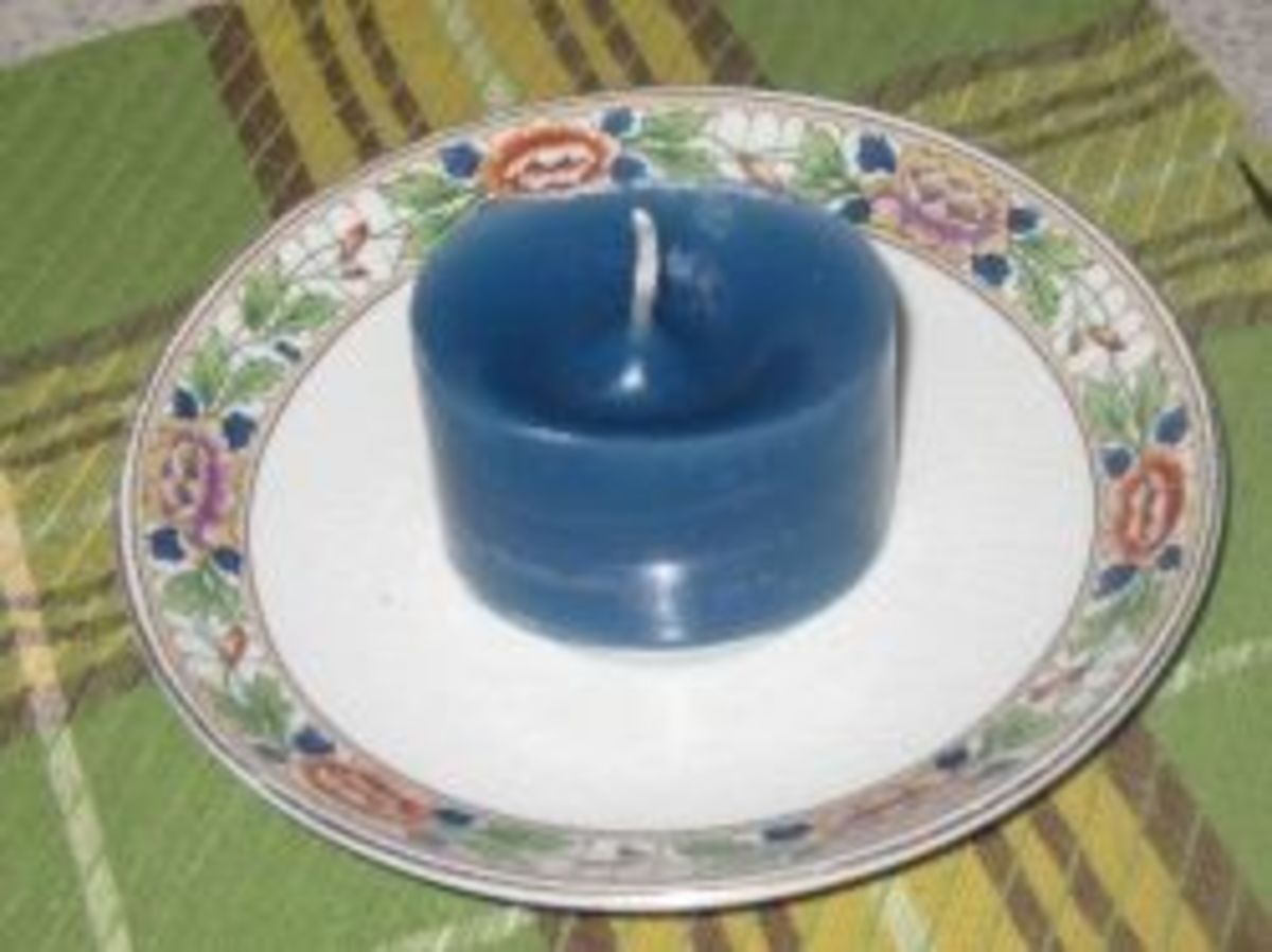 A recycled yogurt container was used for this candle mold.