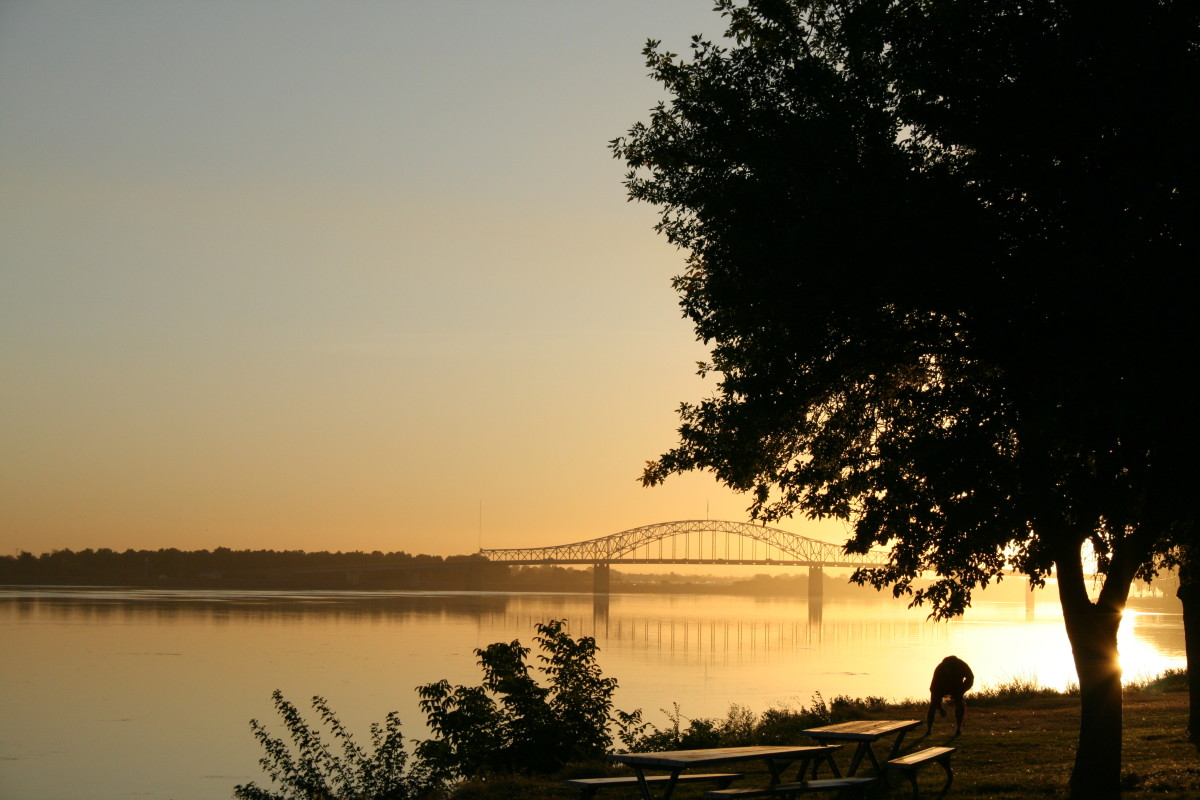 """A view of the Columbia River and the """"Blue"""" bridge, taken from Columbia park in Kennewick, Washington."""