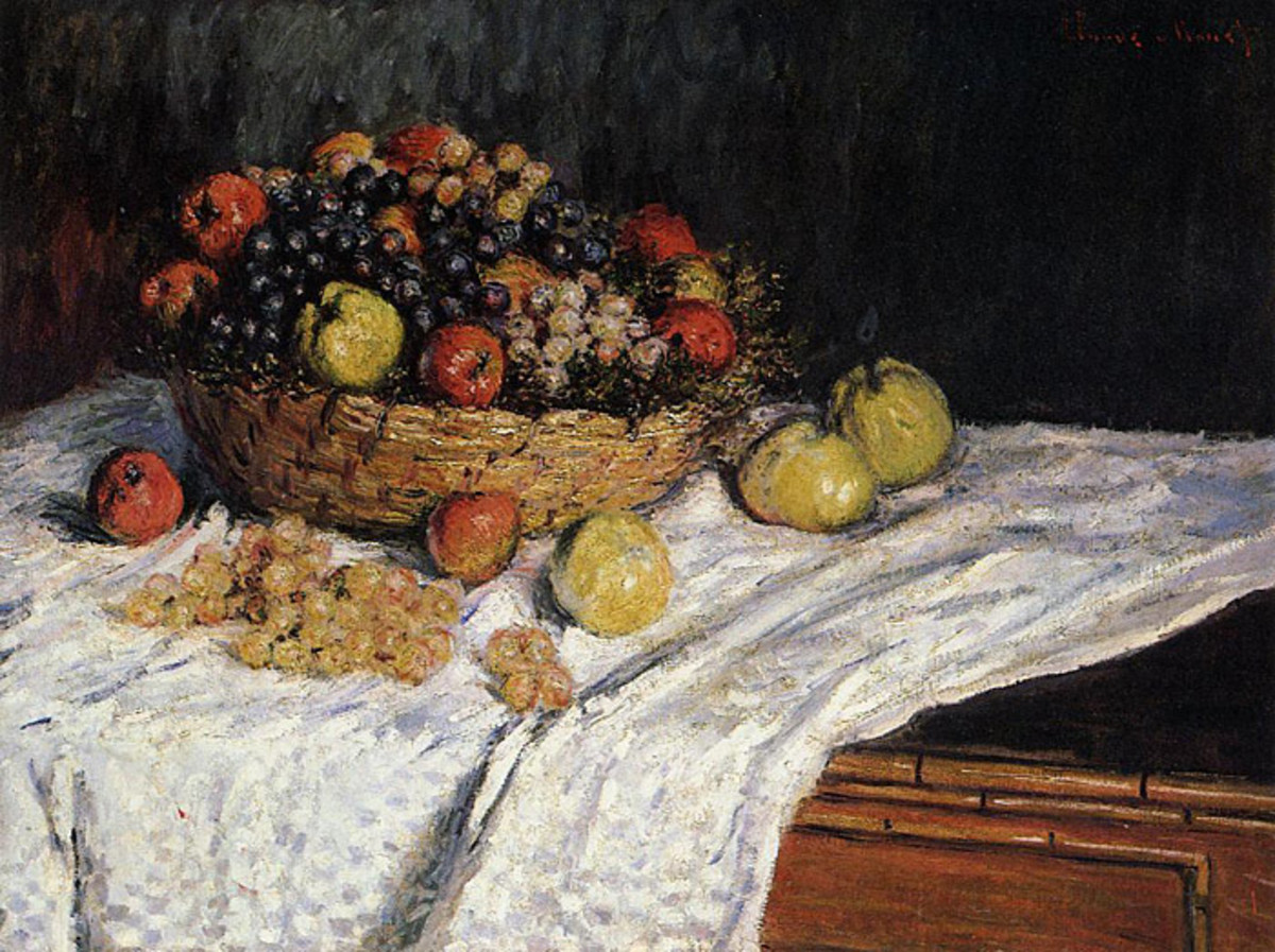 Fruit Basket With Apples And Grapes by Claude Monet