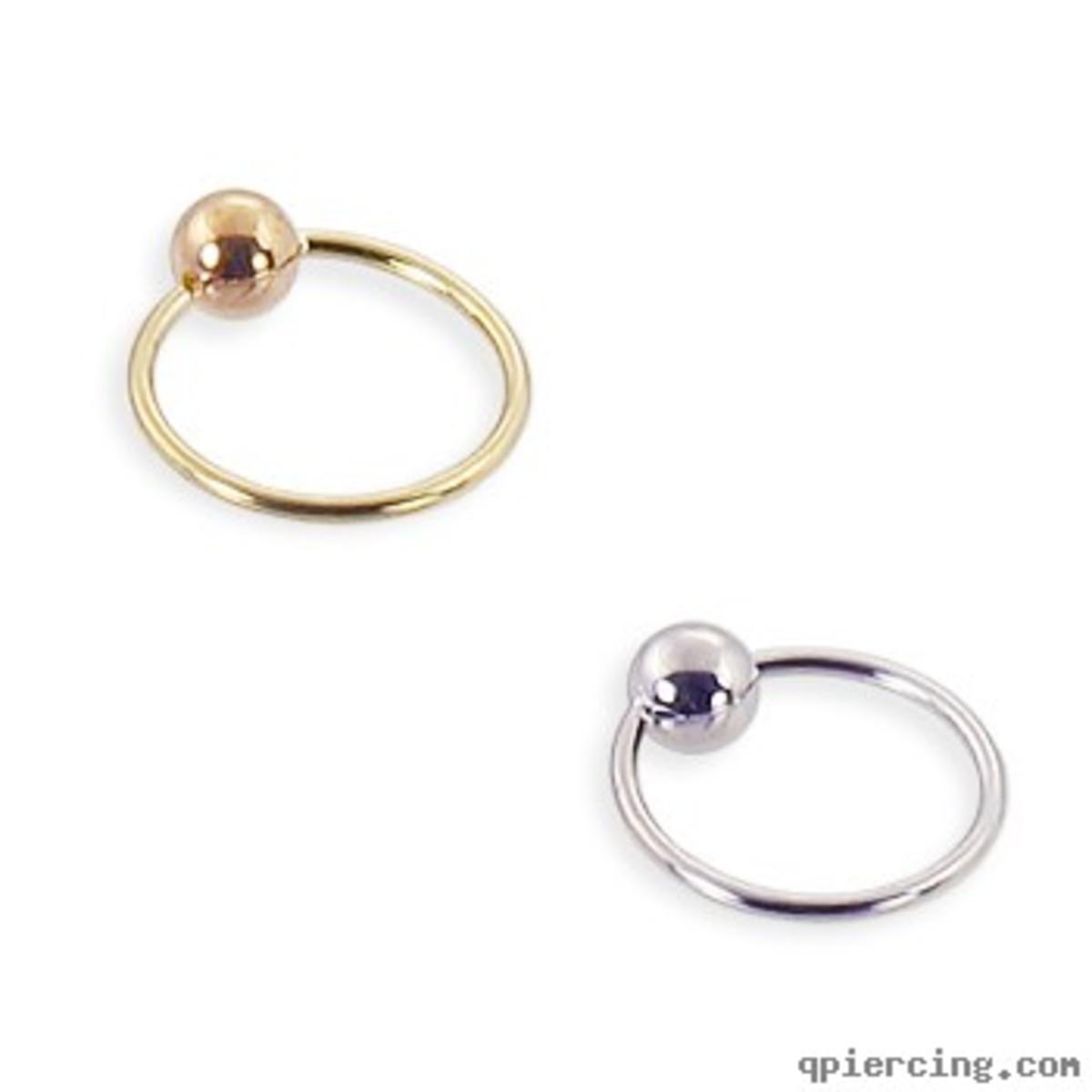 14K Gold Captive Bead Ring, 22 Ga
