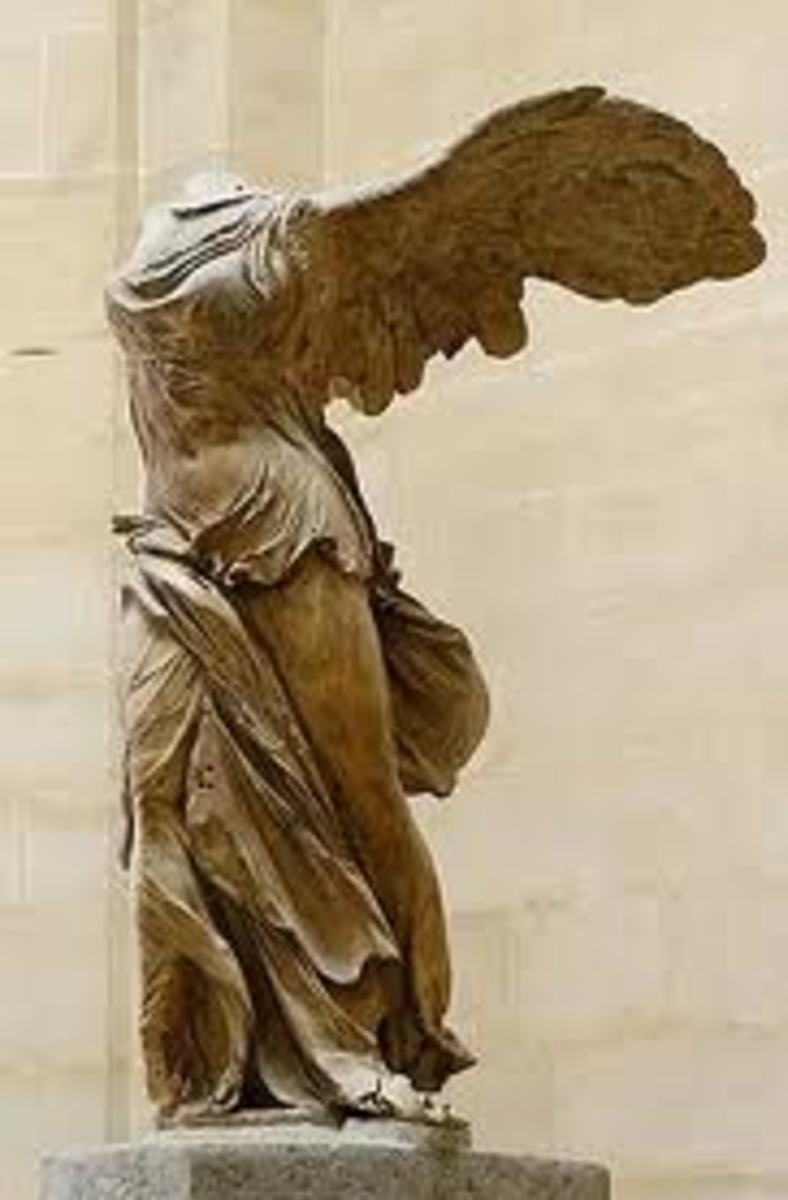 A decapitated statue of the ancient goddess, Nike.  She symbolized victory and hope.