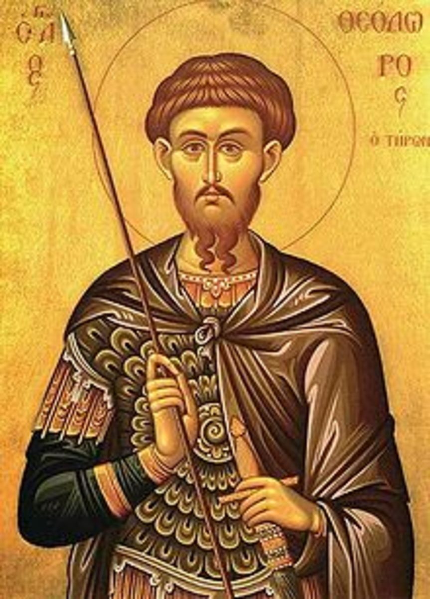 Saint Theodor of Amasea (Turkey) was martyred in 306 A.D.,  a victim of anti-Christian purges during the Diocletian's reforms.  In the middle ages, he became the patron saint of the western gate of the Diocletian's Palace in Split.