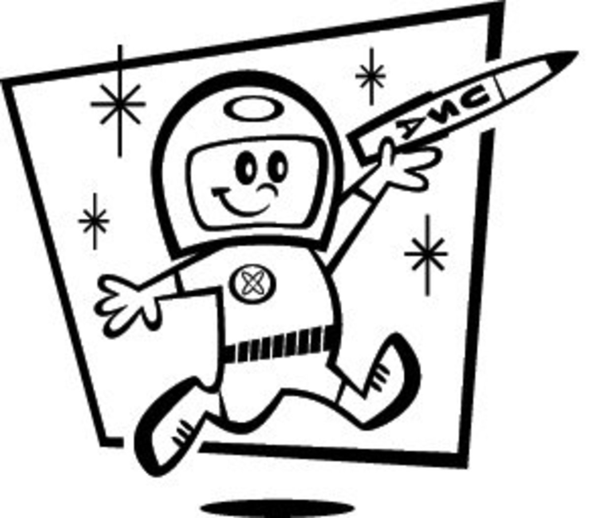 Astronaut boy cartoon/line drawing clip art. Courtesy of Velma's Retro Clip Art and Images. Visit the Web site to download this clip art (link below).