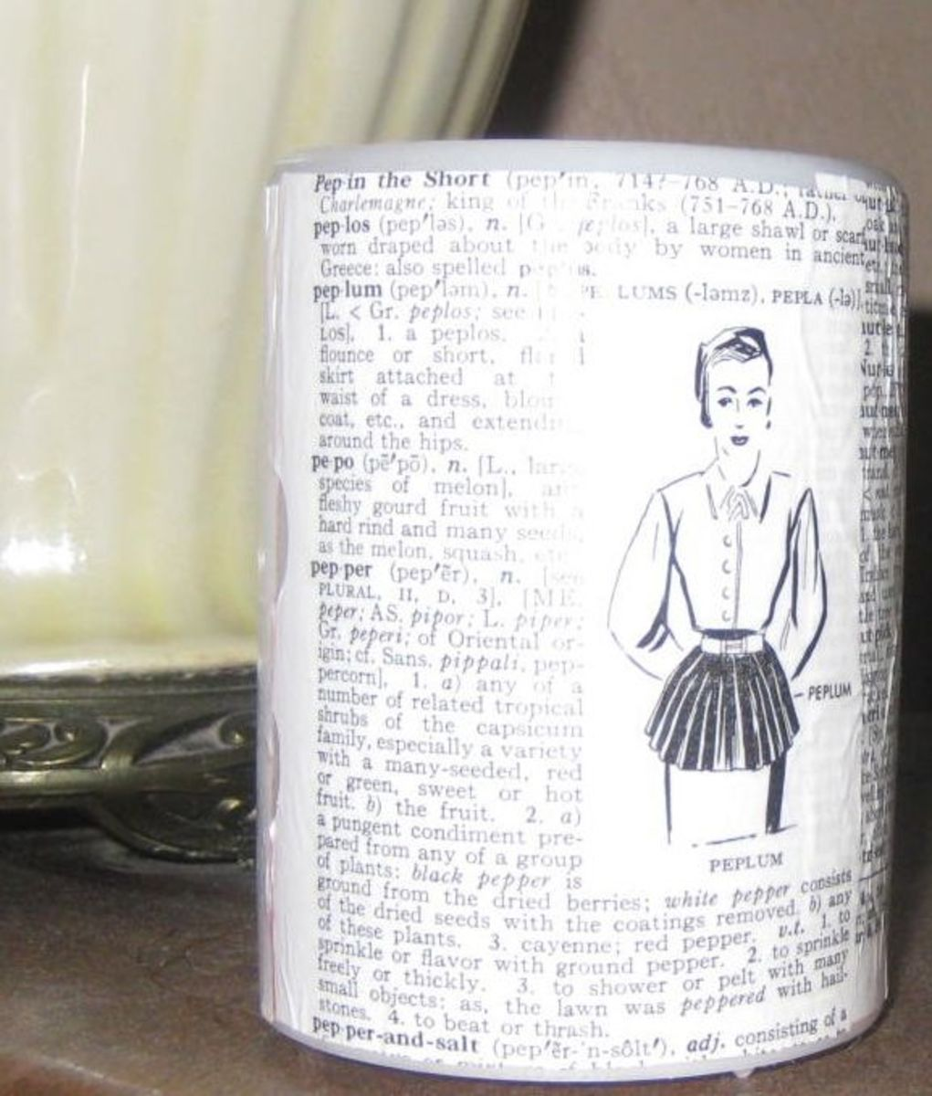 I decoupaged this retro woman (an old dictionary page) onto a flameless candle. Photo Credit:  Peggy Hazelwood
