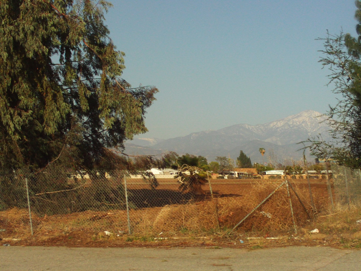 The San Gorgonio Mountains with snow on the peaks.