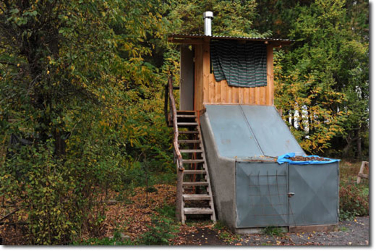 An elaborately-constructed composting toilet.