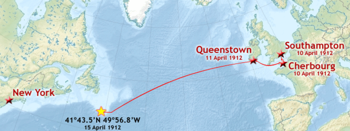 Route of the first and only voyage of the Titanic, April 10-15, 1912.