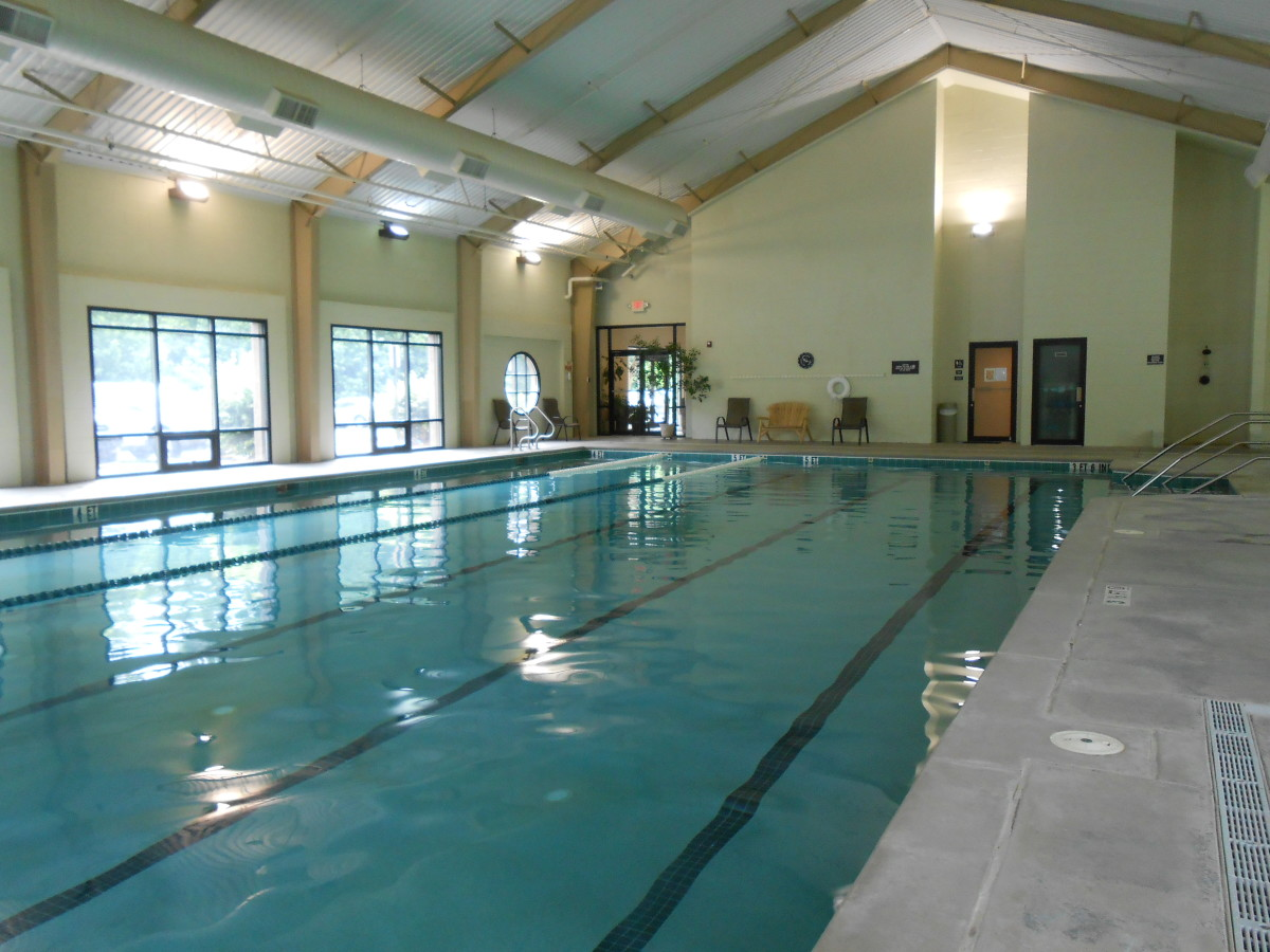 The indoor pool at the Big Canoe Fitness Center.To the right of the pool, behind where I was standing,  is a hot tub and sauna.
