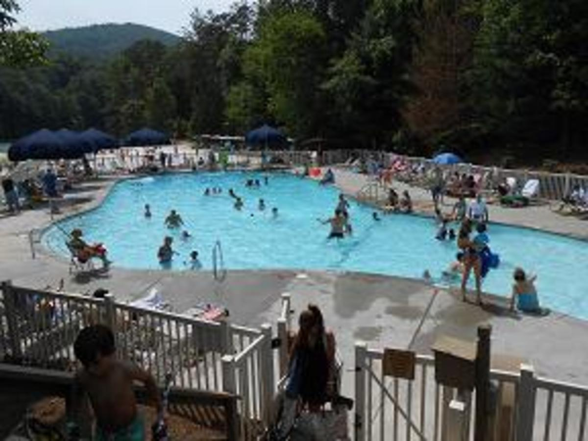 One of the 2 outdoor pools available for use.