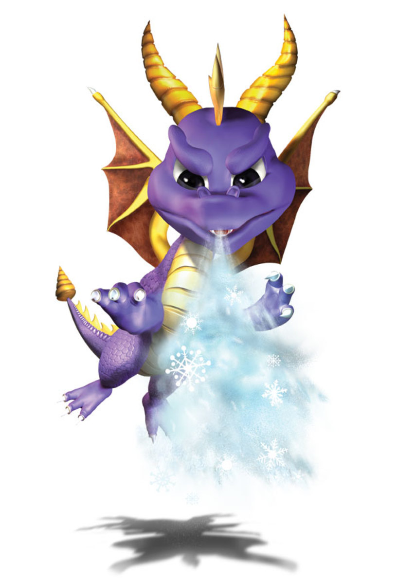 Spyro using his ice breath, which has little effect on enemies. Click to see enlarged and in higher detail.