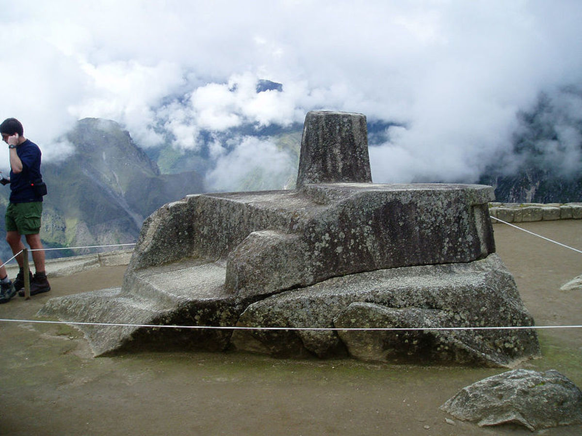 "Intihuatana Stone, ""tie up the sun"", at Machu Picchu."