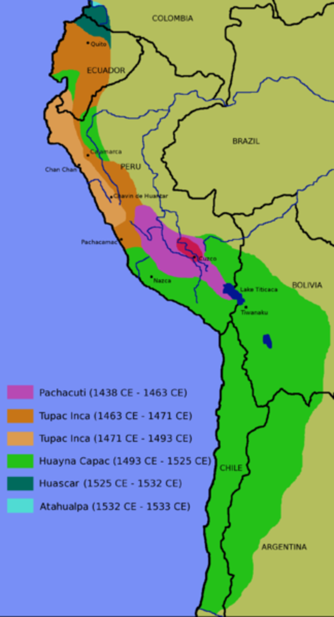 The expanse of the Inca Empire by the 1500's.