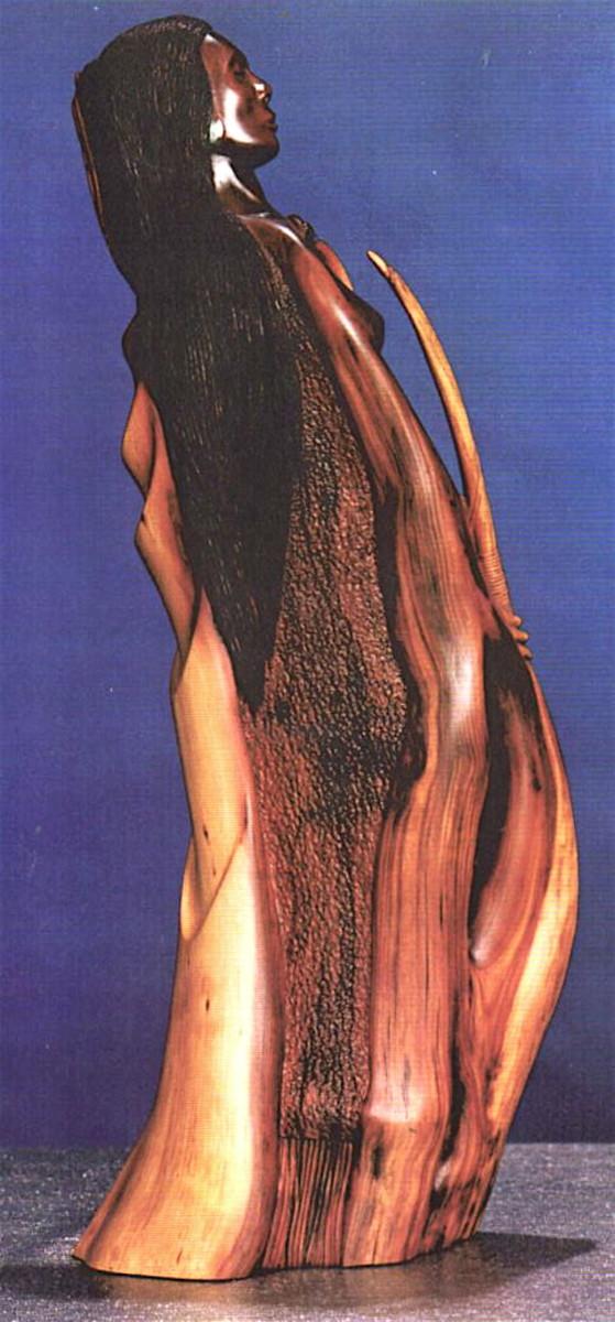 Manzanita carving of an Indian maiden.