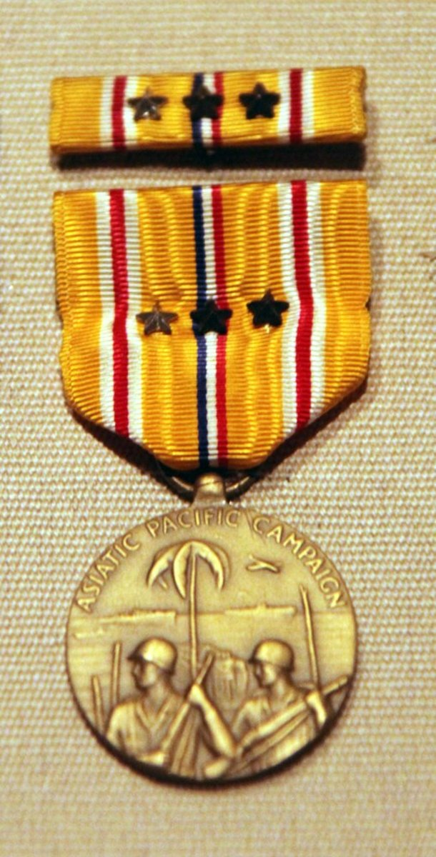The Asiatic-Pacific Campaign Medal was awarded to any member of the U.S. military to serve in the Pacific Theater from 1941 to 1945.