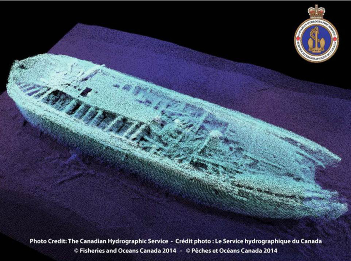 Hi Resolution sonar scan of the HMS Erebus wreck.