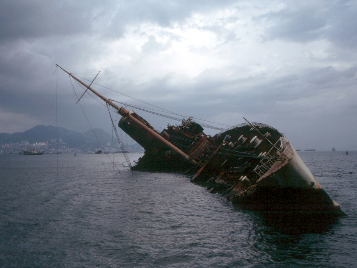 The Seawise University, formerly Queen Elizabeth wrecked in Hong Kong Harbor in the 1970s.