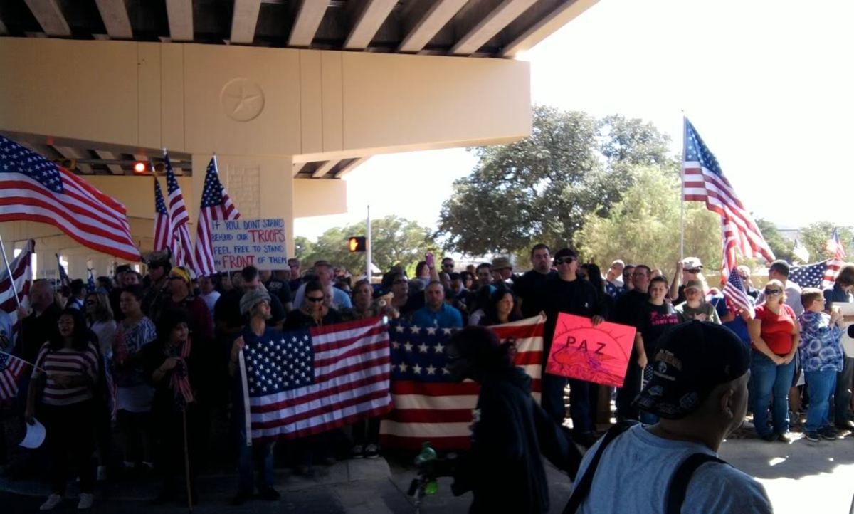 Hundreds of people show up to protect the Diaz family attending Sgt. Christopher Diaz's funeral from Westboro Baptist Church protesters.
