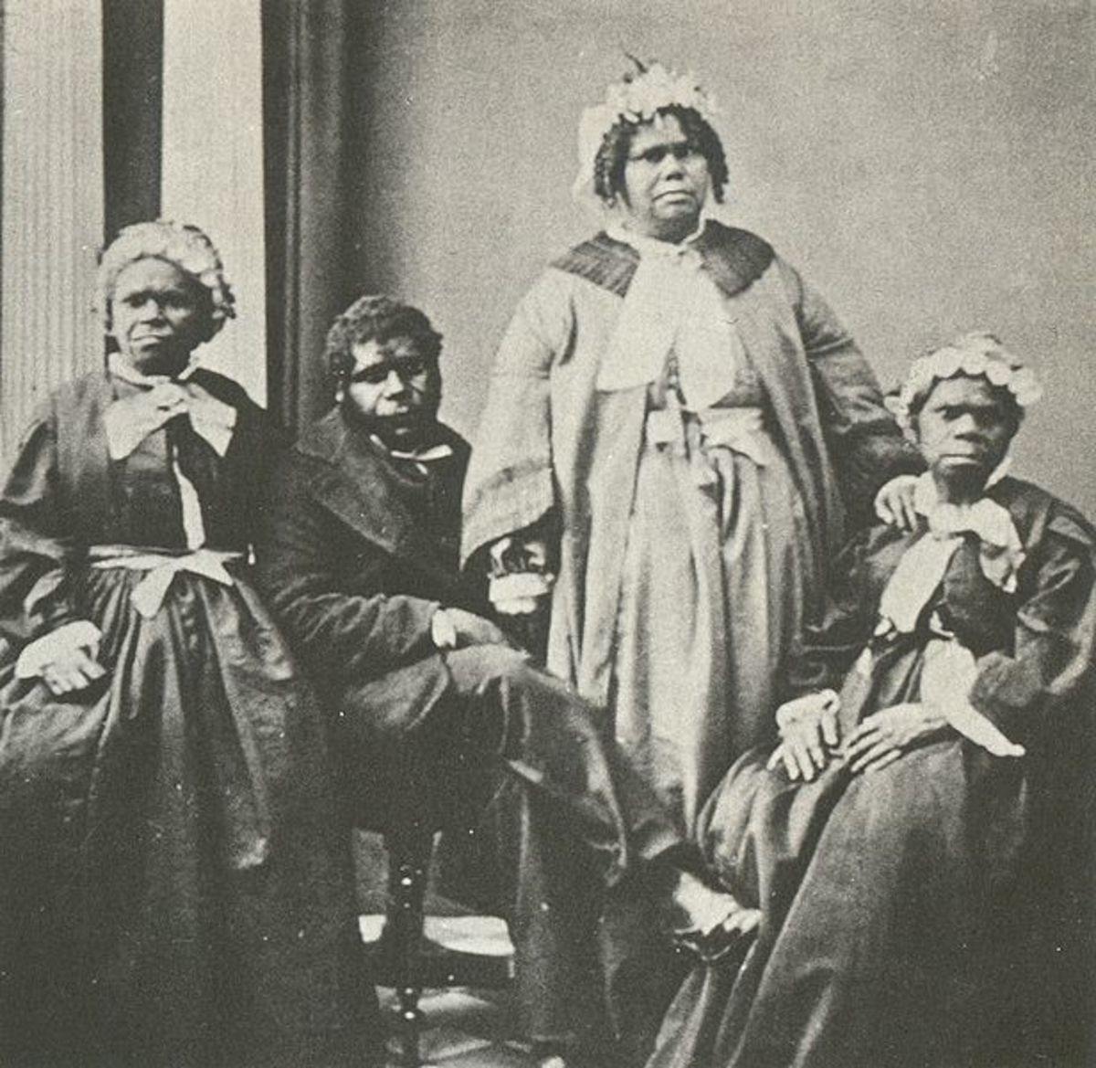 In the 1860s,there were thought to be the last four full-blooded Tasmanians. Queen Truganini is seated to the farthest right.