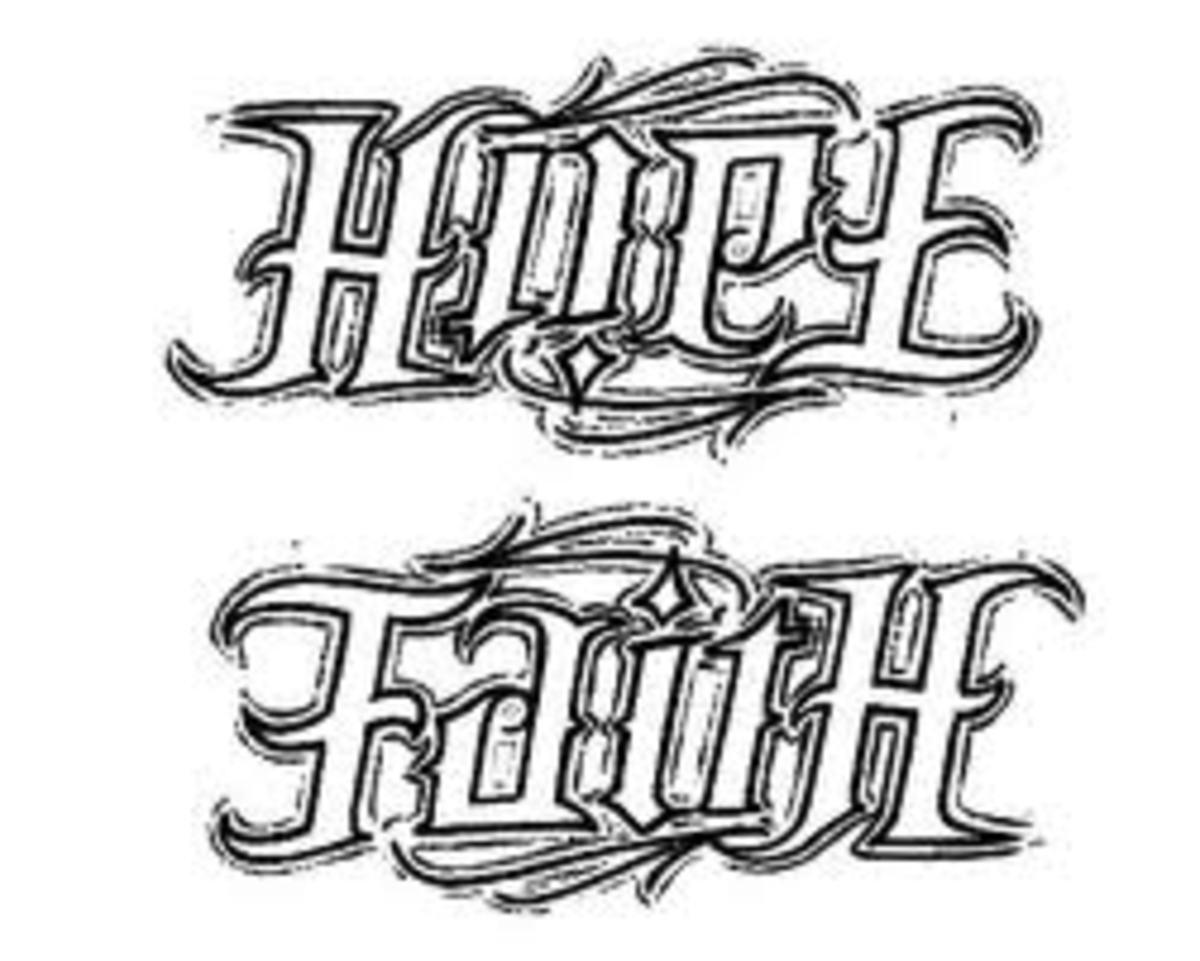Faith Ambigram Tattoo Designs