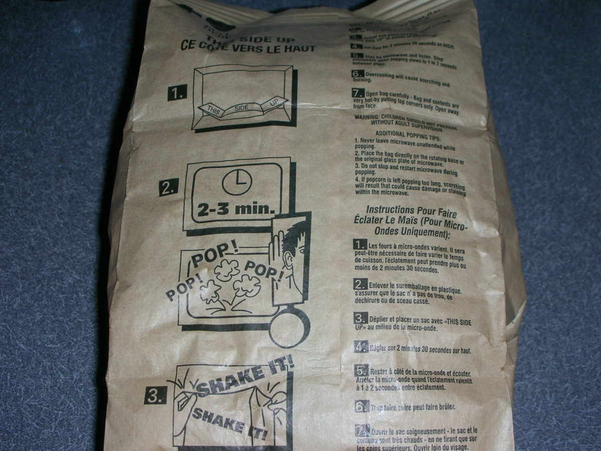 Back of popped bag with directions
