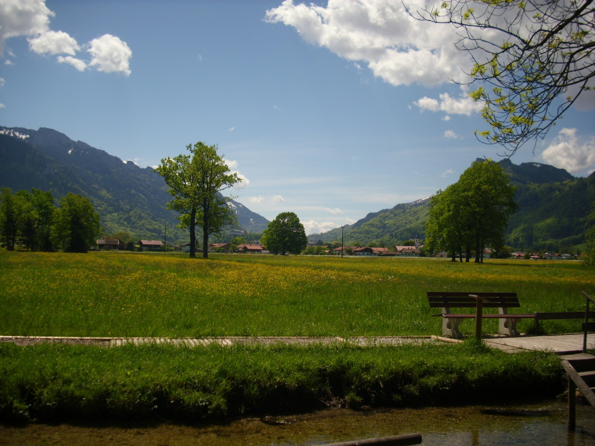 The view in front of the Kneipp Water in Aschau, Bavaria, Germany