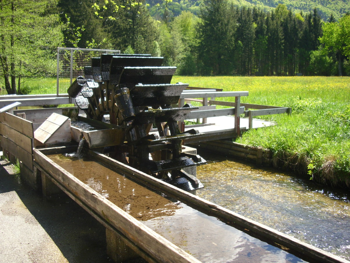 Water Mill in the Natural Kneipp Walking Cure in Aschau, Bavaria, Germany.