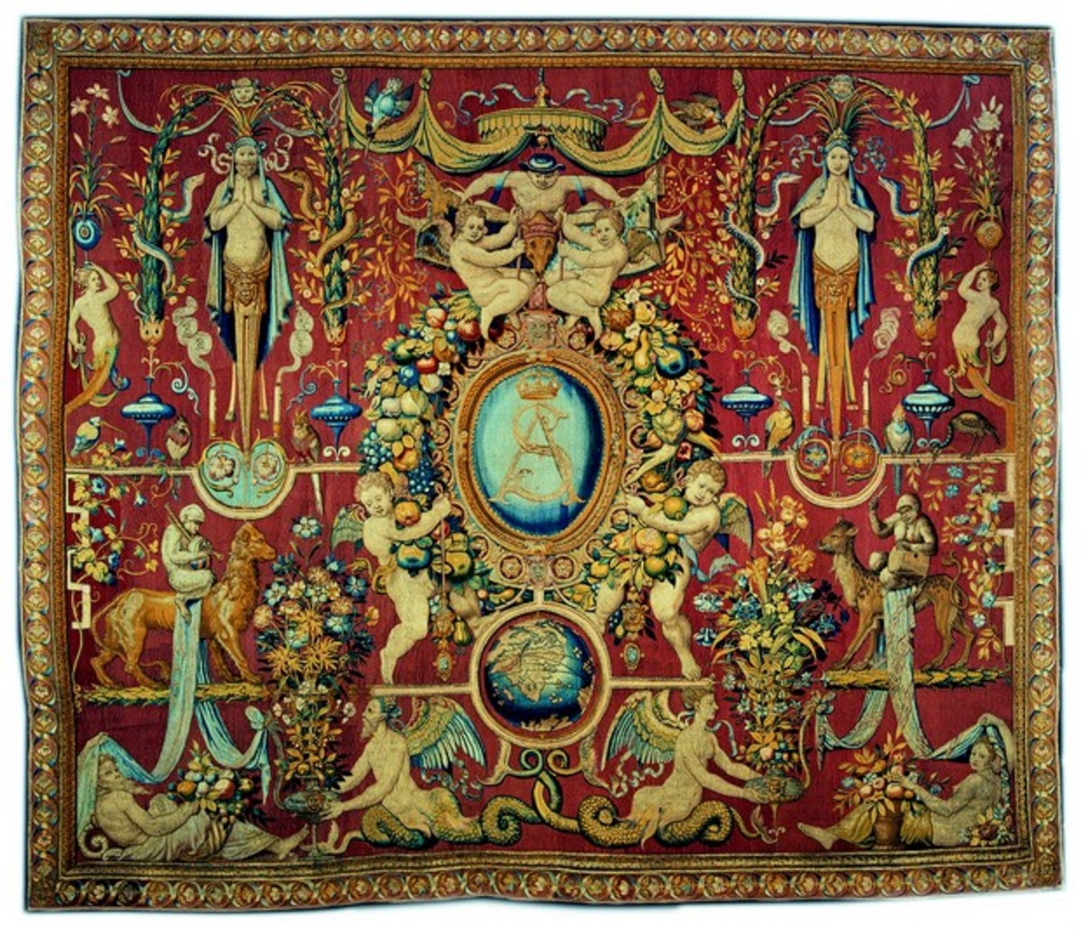 Arabesque tapestry with monogram of Sigismund II Augustus of Poland,  Brussels ca. 1555