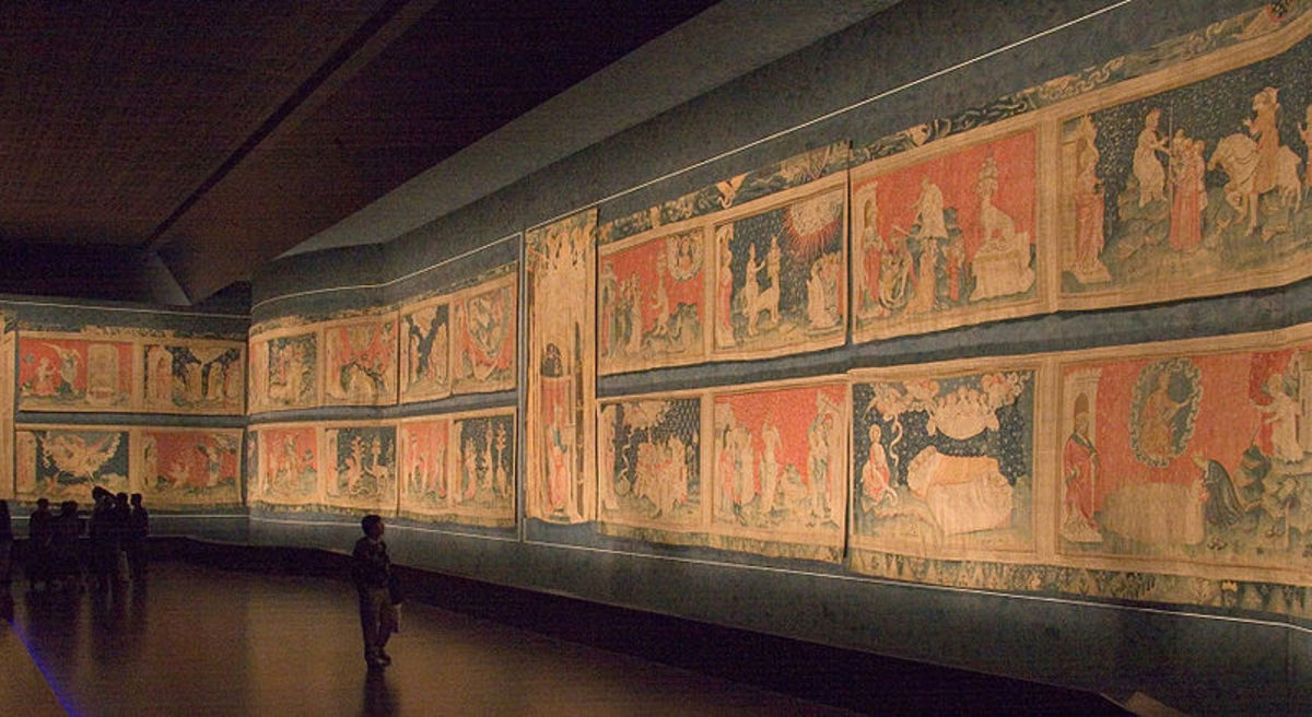 "Tapestry of the ""Apocalypse"", the longest in the world which today hangs in Chateau d'Angers, in France."