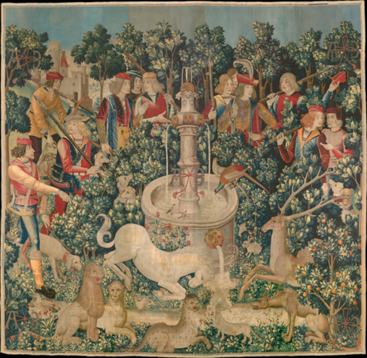 """""""The Hunt of the Unicorn"""", seven piece tapestry circa 1495-1505 in Brussels.  Today, hangs in The Cloisters, Museum of Modern Art in New York City."""