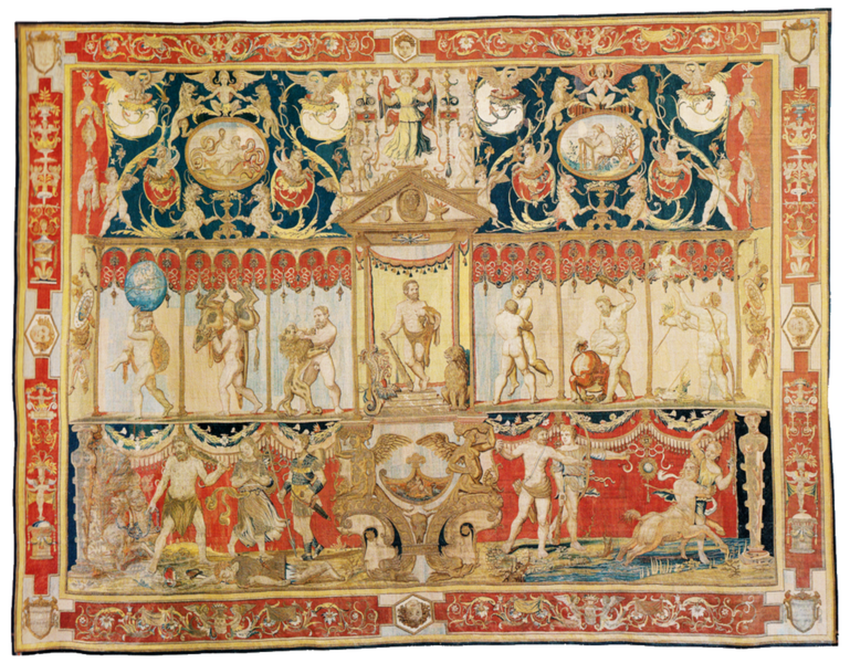 """Triumph of Hercules"", commissioned by Pope Leo V, woven for King Henry VIII in Brussels ca. 1540-42.  Today hangs in Hampton Court Palace, London."