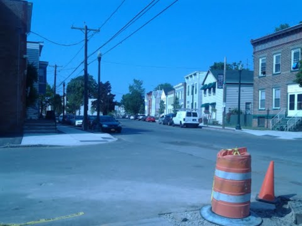Looking north on 1st st. Troy NY