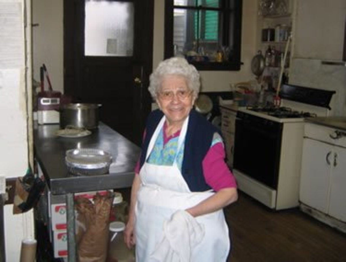 Mrs De Fazio in her Italian kitchen on 4th st, Troy NY, back in the day.