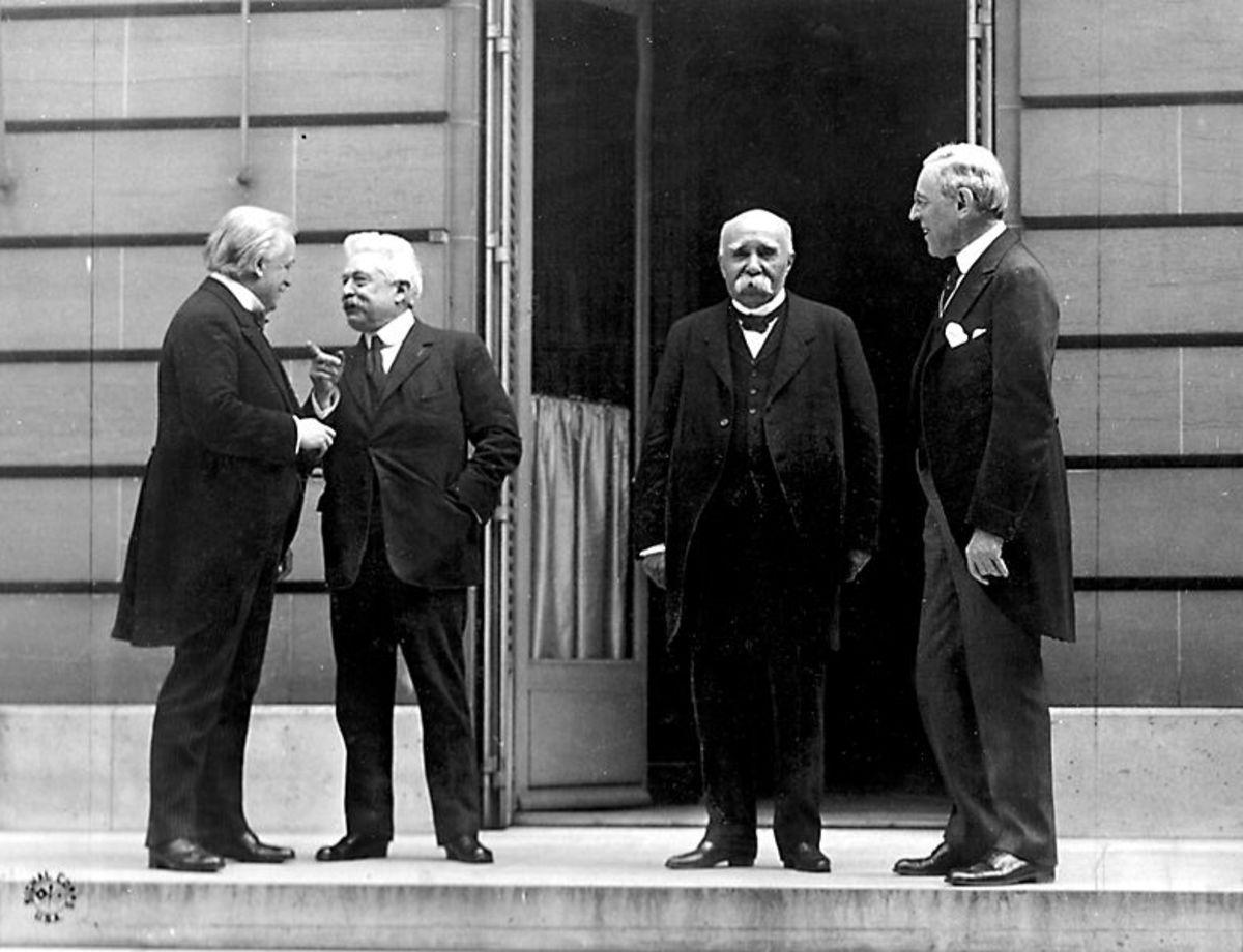 Prime Minister David Lloyd George, Britian, Premier Vittorio Orlando, Italy, French Premier Georges Clemenceau, President Woodrow Wilson