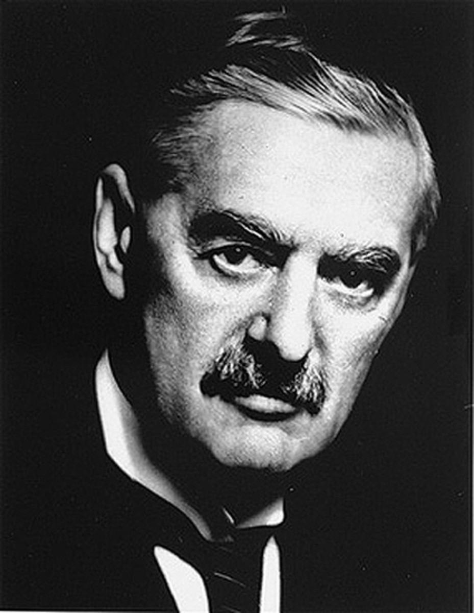 Neville Chamberlain believed in a policy of Appeasement.