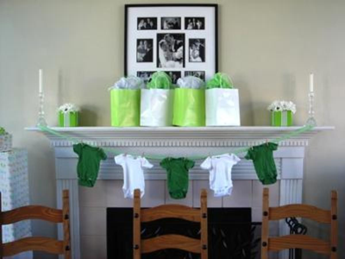Hang some green and white onesies rather than using paper streamers and balloons