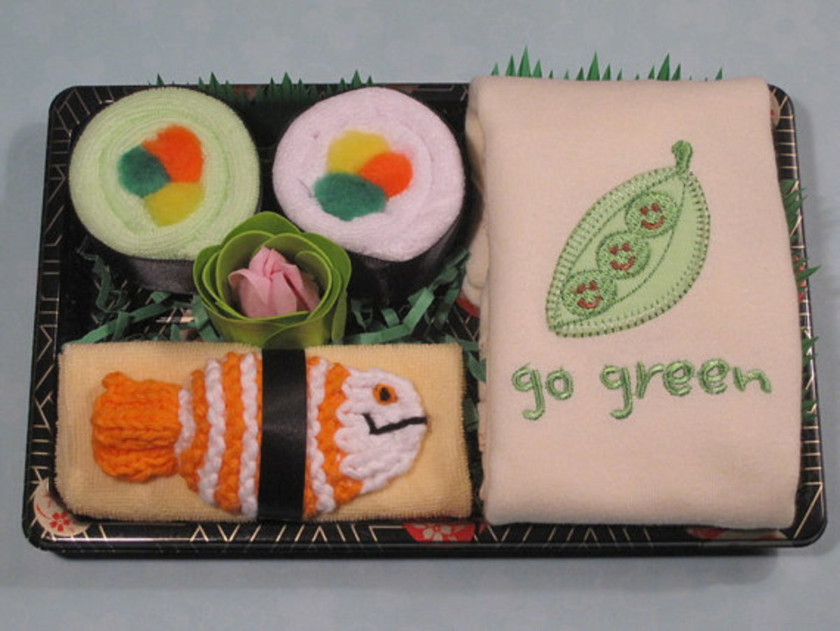 Adorable green-themed sushi set- organic onesies