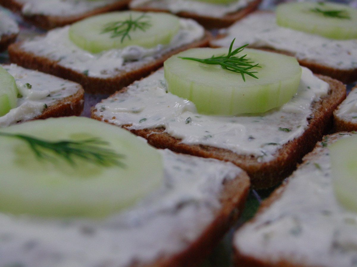 Sprigs of dill on cucumbers make a cute green themed snack