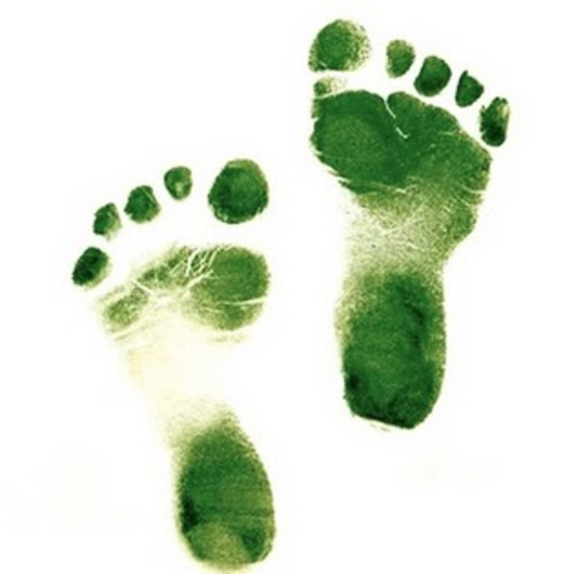 Green paint and baby's feet can be used to decorate a onesie or card