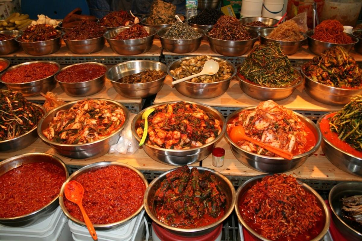 Various Korean foods. They all taste like red pepper paste.