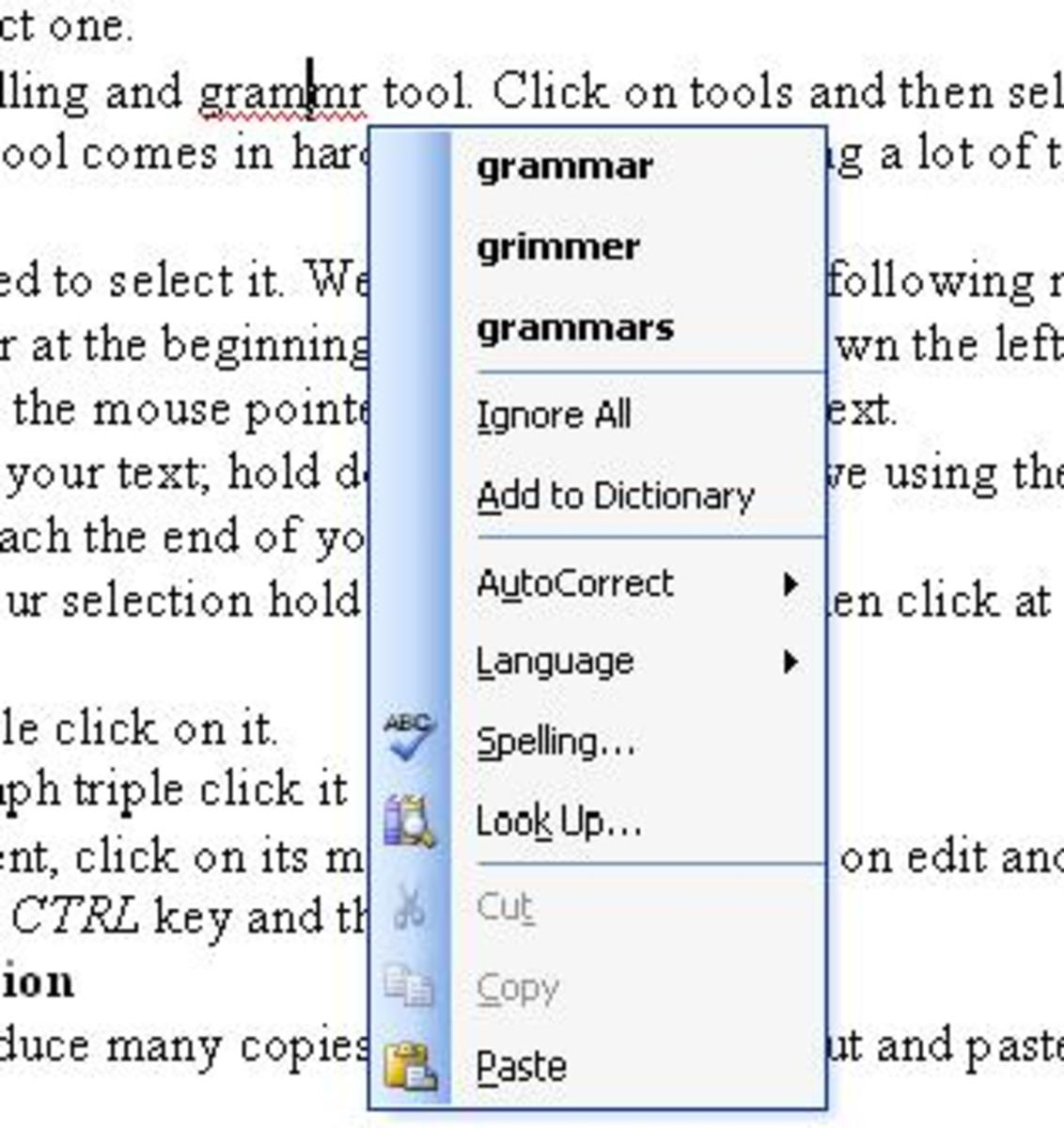 Spelling and grammar check by right clicking