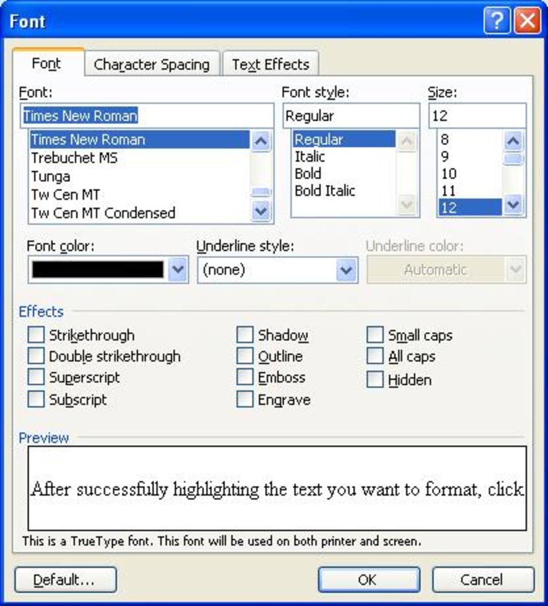 Text Editing And Formatting a Document Using Microsoft Word